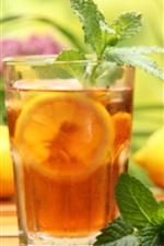 iPhone обои Лимонный чай, напитки, стеклянные чашки, мята