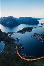 Lofoten Islands, Norway, fjords, evening, mountains, road, lights