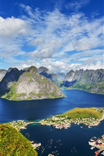Preview iPhone wallpaper Lofoten Islands, mountains, houses, top view, sea, coast, Norway