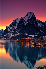 Lofoten, evening, sunset, mountains, lake, town, lights, Norway