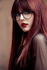 Preview iPhone wallpaper Long hair girl, glasses