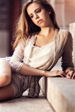 Lovely girl sit on ladder, long hair, legs, romance style