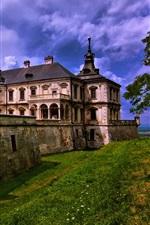 Lviv, Ukraine, Pidgirtsi village, castle, house, trees, clouds