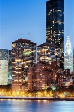 Manhattan, New York, USA, city, skyscrapers, river, lights, dusk