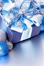 Preview iPhone wallpaper Merry Christmas, gift, balls, blue style
