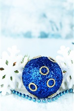 Preview iPhone wallpaper Merry Christmas, snowflakes, holidays, balls, bokeh