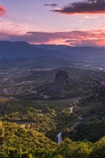 Preview iPhone wallpaper Meteora, Greece, beautiful nature landscape, mountains, valley, sunset
