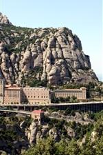 Preview iPhone wallpaper Monastery, Montserrat, Spain, mountains, stones