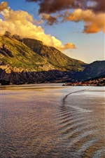 Preview iPhone wallpaper Montenegro, city, coast, mountains, clouds, dusk