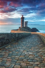 Preview iPhone wallpaper Morning sea, lighthouse, clouds, sunrise