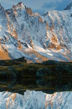 Preview iPhone wallpaper Mountains, snow, creek, water reflection