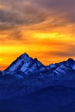 Preview iPhone wallpaper Mountains, sunset, red sky, snow, dusk