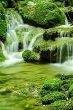 iPhone fondos de pantalla Naturaleza, paisaje, musgo, piedras, corriente, greens, italia