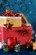 미리보기 iPhone 배경 화면 새 해와 크리스마스, 상자, 촛불, 공, 종소리, 장식