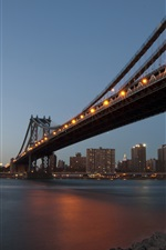 Preview iPhone wallpaper New York, city evening, river, bridge, buildings, lights