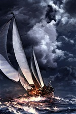 Preview iPhone wallpaper Night sea, storm, sailboat, moon, city, art drawing