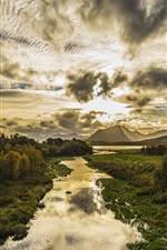 Preview iPhone wallpaper Norway, Lofoten, islands, clouds, mountains, trees, stream, sunset