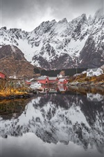 Preview iPhone wallpaper Norway, Nordland, mountains, snow, village, lake, water reflection