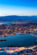 Preview iPhone wallpaper Norway, city night, houses, lights, river, bridge, snow, mountains