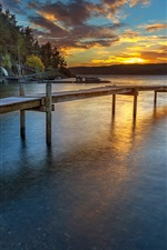 Preview iPhone wallpaper Norway sunset, shore, pier, river, forest