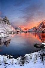 Preview iPhone wallpaper Norway sunset winter, snow, houses, lake, mountains