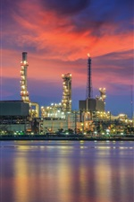 Preview iPhone wallpaper Oil refinery, water reflection, night, lights, Bangkok, Thailand
