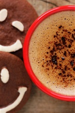 Preview iPhone wallpaper One cup coffee, chocolate cookies