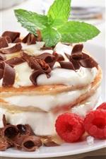 미리보기 iPhone 배경 화면 팬케이크, 크림, 딸기, 민트