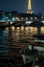 Preview iPhone wallpaper Paris night, France, Eiffel tower, river, boats, lights