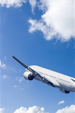 Preview iPhone wallpaper Passenger airplane, rise flight, blue sky, clouds