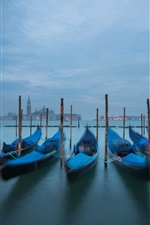 Preview iPhone wallpaper Piazza San Marco, Venice, Italy, canal, boats, night, lights