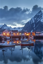 Port night, houses, boats, lights, mountains, clouds, Nordland, Norway