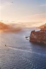 Preview iPhone wallpaper Porto, Portugal, city morning, houses, sunrise, river, fog