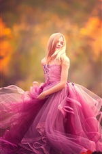 Preview iPhone wallpaper Purple dress little girl dance