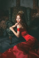 Preview iPhone wallpaper Red dress Asian girl in the room