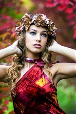 Preview iPhone wallpaper Red dress girl in autumn, rose wreath, maple leaves