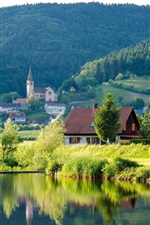 River, forest, hills, houses, Germany