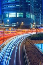 Preview iPhone wallpaper Road, freeway, buildings, city, lights, illumination, Hong Kong at night