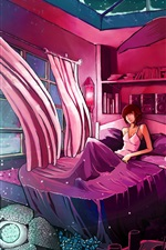 Preview iPhone wallpaper Room, curtains, bed, girl, wolf, wind, art drawing
