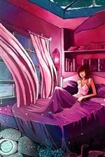 Vorschau des iPhone Hintergrundbilder Zimmer, Vorhänge, Bett, Mädchen, Wolf, Wind, Kunstzeichnung