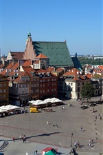 Preview iPhone wallpaper Royal Palace, Poland, Warsaw, old town, houses, street