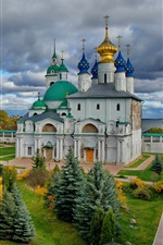 Russia, Cathedral, monastery, clouds, sky
