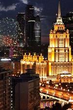 Rússia, Moscou, cidade, noite, luzes, edifícios, estrada
