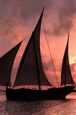 Preview iPhone wallpaper Sail ship at sunset sea