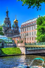 Preview iPhone wallpaper Saint Petersburg, Church, Russia, river, bridge, trees