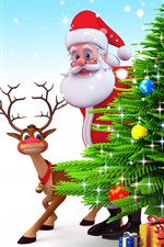 Santa Claus, Christmas tree, deer, gifts, 3D art picture