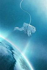 Aperçu iPhone fond d'écranSatellite, planète, astronaute, espace, étoiles