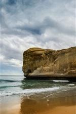 Preview iPhone wallpaper Sea, beach, rock, bird, clouds