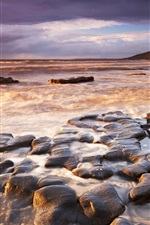 Preview iPhone wallpaper Sea, coast, stones, waves, sunset