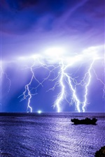 Preview iPhone wallpaper Sea, lightning, night, Australia